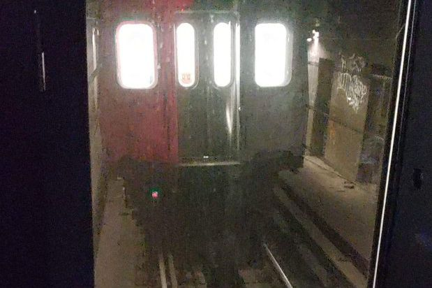 A subway car detached at the Chambers Street A-C station Tuesday night, forcing the MTA to take entire line of R179 trains off the rails, June 3, 2020.