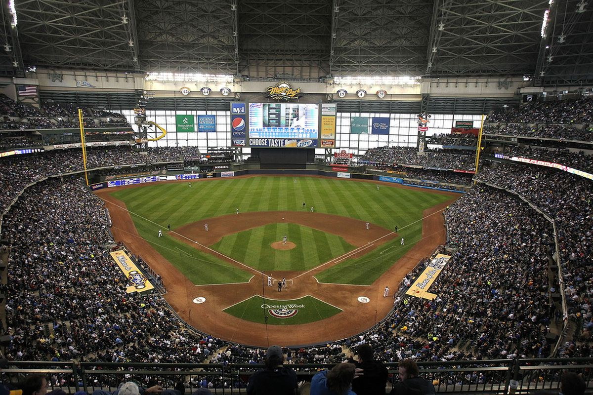 MILWAUKEE, WI - APRIL 04: A general view of Miller Park during the home opener for the Milwaukee Brewers against the Atlanta Braves on April 4, 2011 in Milwaukee, Wisconsin. The Braves defeated the Brewers 2-1. (Photo by Jonathan Daniel/Getty Images)