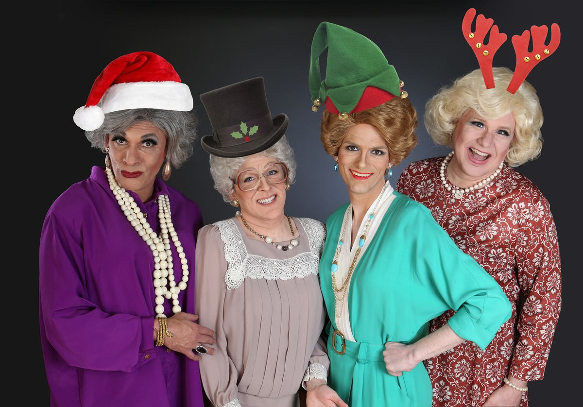 """David Cerda (from left),Ryan Oates,Grant DragerandEd Jones in """"The Golden Girls: The Lost Episodes — The Holiday Edition by Hell in a Handbag Productions."""