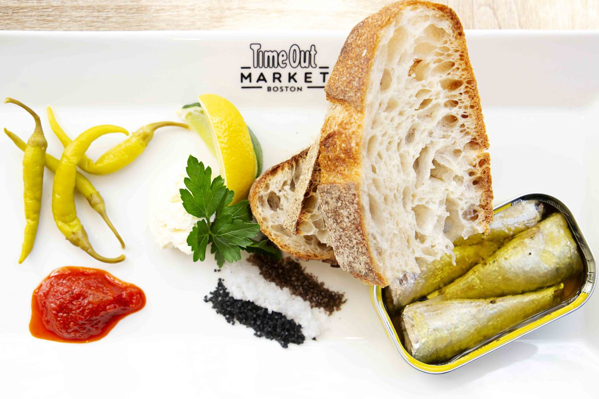 The signature tinned fish platter at Saltie Girl at Time Out Market Boston