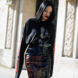 Woman in head-to-toe Vetements pieces.