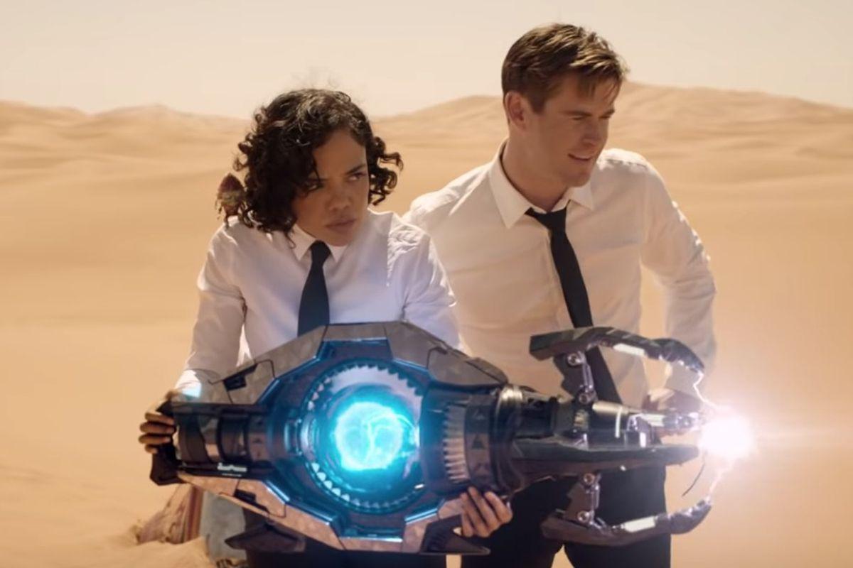 "Tessa Thompson (Agent M) plays opposite Chris Hemsworth (Agent H) in ""Men in Black: International."""