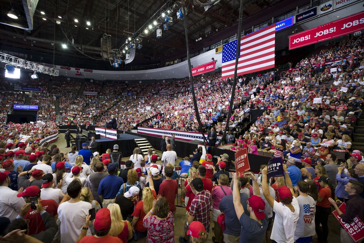 President Donald Trump speaks at a campaign rally Thursday, Aug. 1, 2019, in Cincinnati.