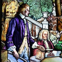 """A Chinese emperor from the 18th century, Thomas Jefferson and John Adams are depicted in a section of """"Roots of Knowledge"""" at Holdman Studios at Thanksgiving Point in Lehi on Friday, Sept. 16, 2016. A Guardian UK reporter called the work """"one of the most spectacular stained glass windows made in the past century."""""""