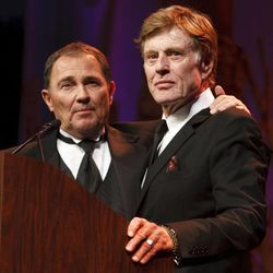 """Governor Gary Herbert introduces Robert Redford. For all his contributions to the state of Utah, Robert Redford was recognized and honored by Governor Gary Herbert at a gala in his honor, """"The Governor's Salute to Robert Redford: A Utah Tribute to an American Icon"""" at the Grand America Hotel, Saturday, November 9, 2013. Redford is an actor, director, producer, philanthropist, businessman, environmentalist, and founder of the Sundance Resort, the Sundance catalog, and the Sundance Institute which hosts the Sundance Film Festival."""