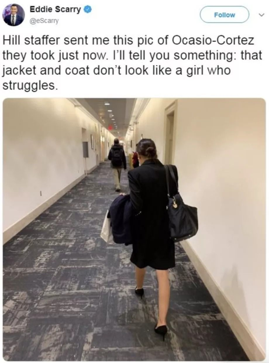 Eddie Scarry's now-deleted tweet, showing a photograph of Alexandria Ocasio-Cortez in black, carrying a coat