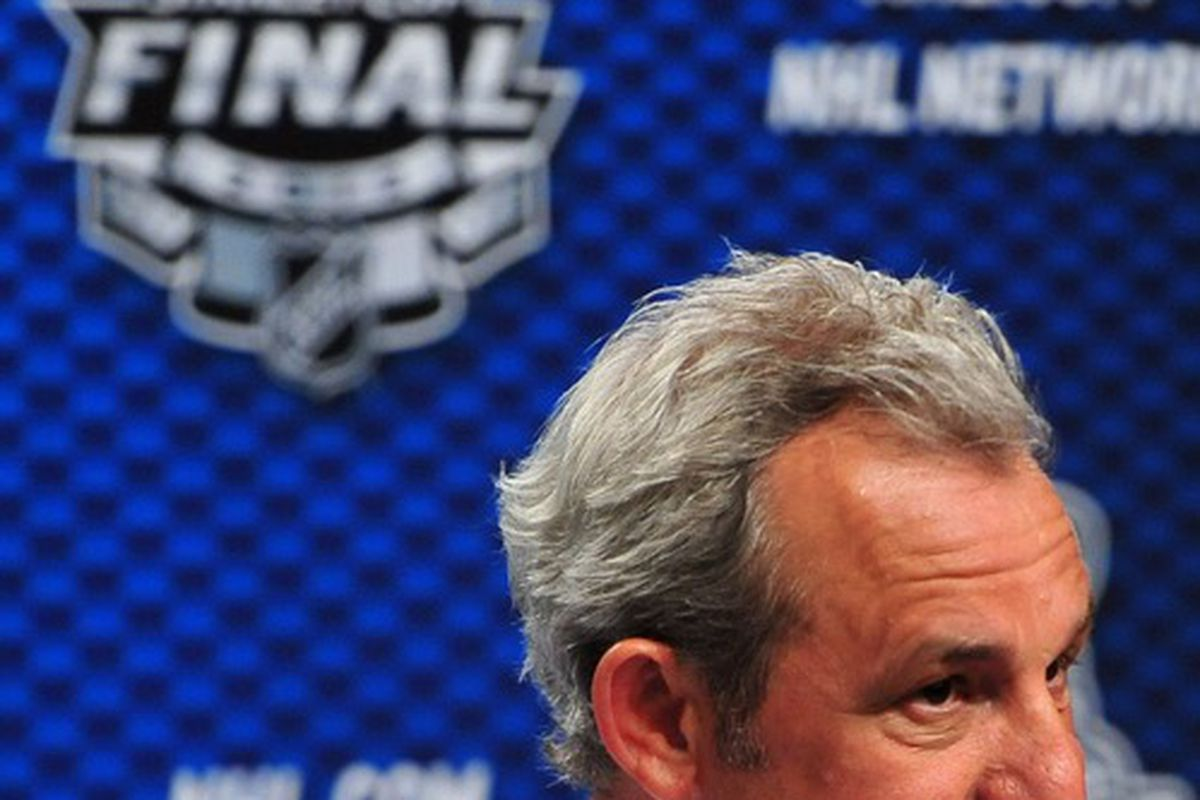 Darryl Sutter peruses this post to see if there's any more laughable stuff asking if he's mad at his team for not sweeping the Cup Finals.