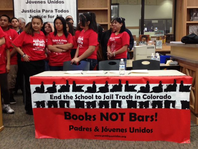 Student leaders with Padres & Jovenes Unidos attend a news conference Tuesday on the new intergovernmental agreement outlining the role of resource officers in Denver schools.