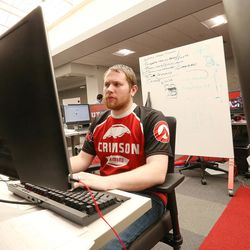 Jordan Runyan, a University of Utah student and communications director of Crimson Gaming, works on a project in Salt Lake City on Wednesday, April 5, 2017. Utah and it's nationally ranked Entertainment Arts & Engineering video game development program announced Wednesday that it is forming the U.'s first college-sponsored varsity esports program.