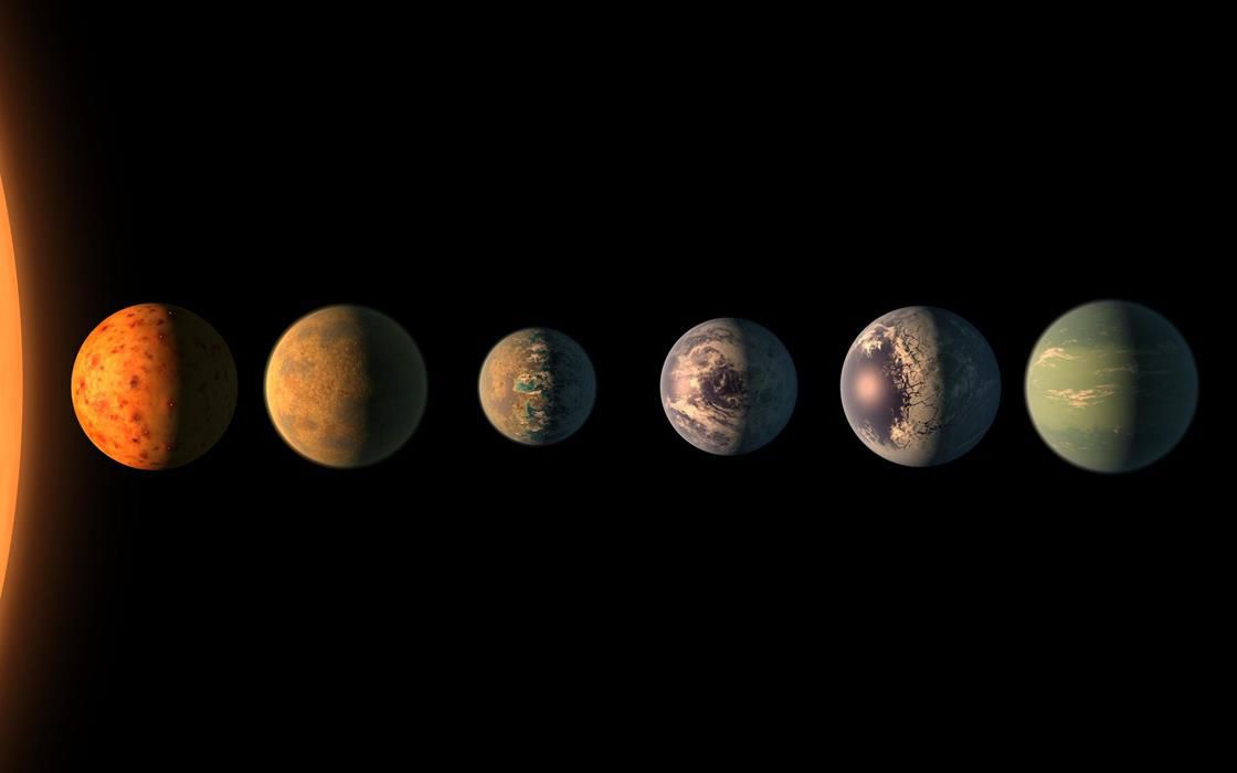 Artist's rendering of Earth-size planets around Trappist-1