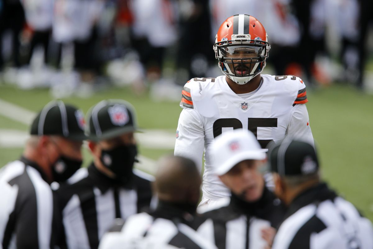 Cleveland Browns defensive end Myles Garrett (95) waits for the call during the first half against the Cincinnati Bengals at Paul Brown Stadium.