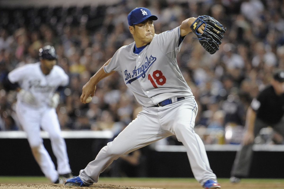 SAN DIEGO, CA - AUGUST 2: Hiroki Kuroda #18 of the Los Angeles Dodgers pitches during the fourth inning of a baseball game against the San Diego Padres at Petco Park on August 2, 2011 in San Diego, California. (Photo by Denis Poroy/Getty Images)