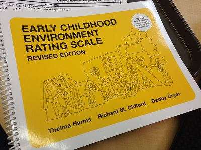 """The """"ECERS"""" manual is the environmental rating scale that Qualistar raters use during preschool visits. A related tool, called the """"ITERS,"""" is used during visits to facilities that care for infants and toddlers."""
