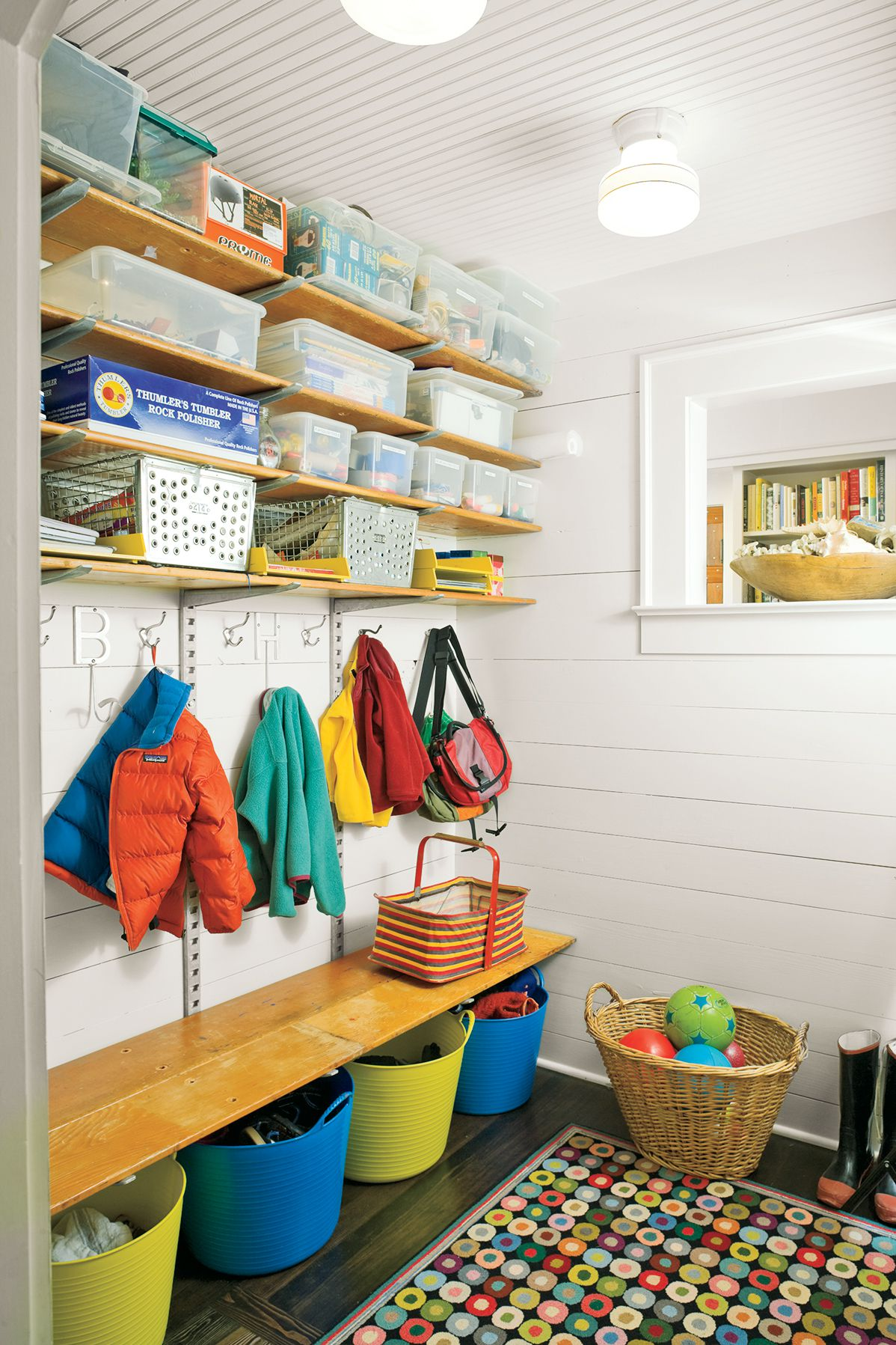 Toy And School Supply Mudroom Near Kitchen