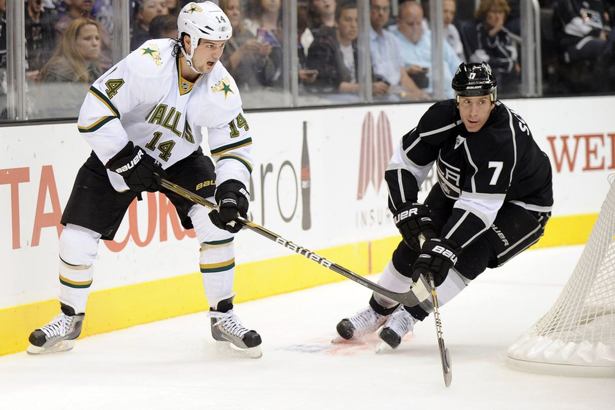 Rob Scuderi #7 of the Los Angeles Kings knocks the puck off the stick of Jamie Benn #14 of the Dallas Stars during the first period at Staples Center in Los Angeles, California.  (Photo by Harry How/Getty Images)
