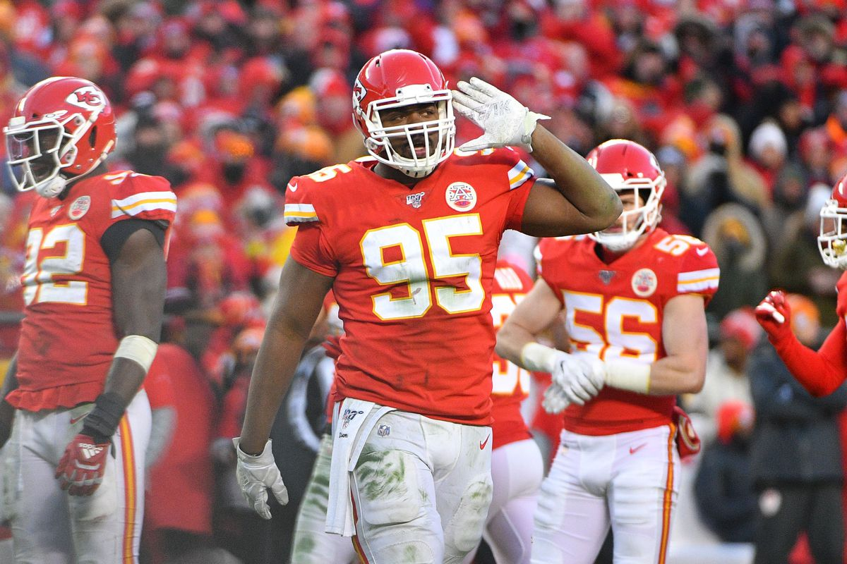 Kansas City Chiefs defensive end Chris Jones celebrates after a play during the game against the Tennessee Titans at Arrowhead Stadium.