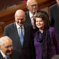 Elder Russell M. Nelson and his wife Wendy leave the stand following the Sunday afternoon session of the 183rd Semiannual General Conference for the Church of Jesus Christ of Latter-day Saints Sunday, Oct. 6, 2013 inside the Conference Center.