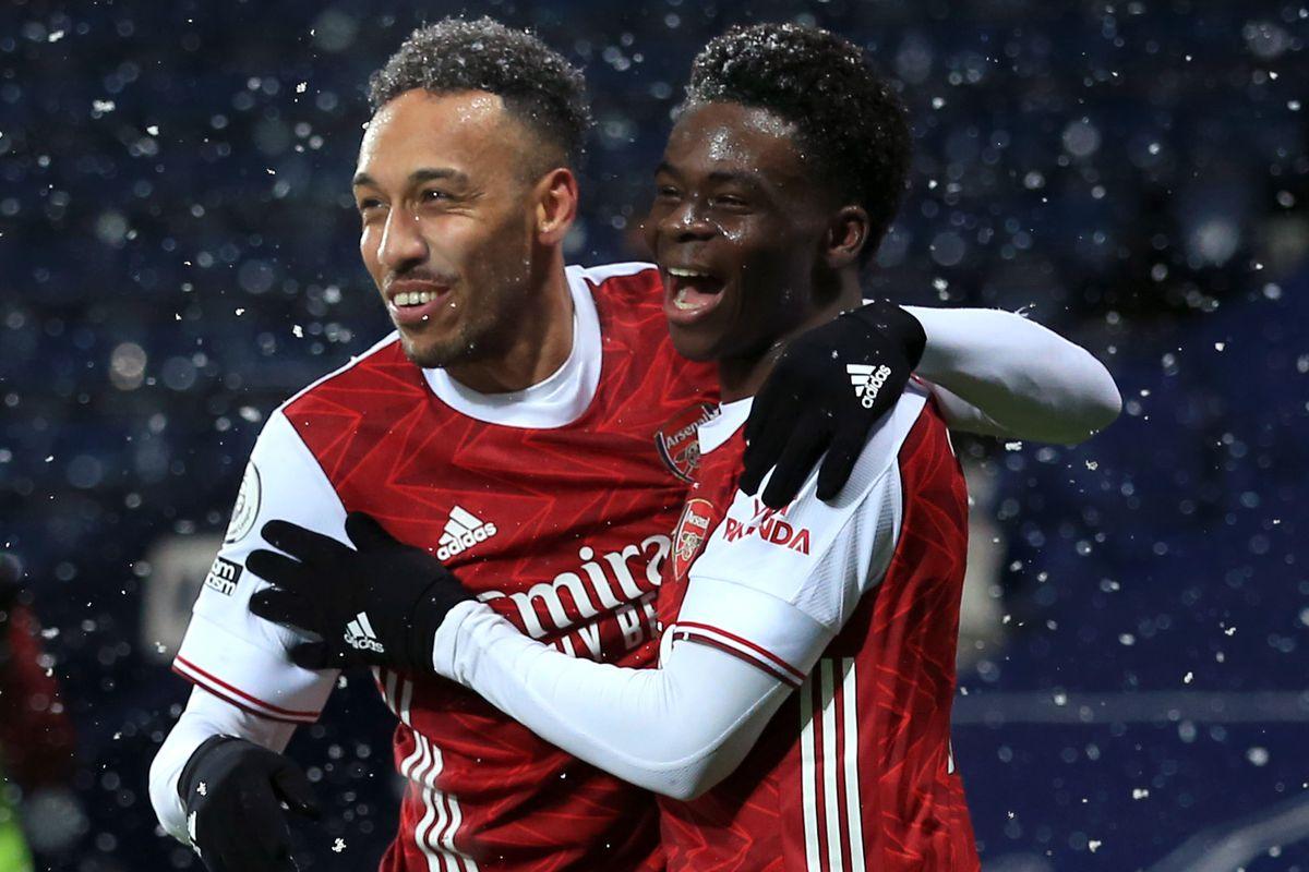 Bukayo Saka celebrates with Pierre-Emerick Aubameyang - Arsenal - Premier League