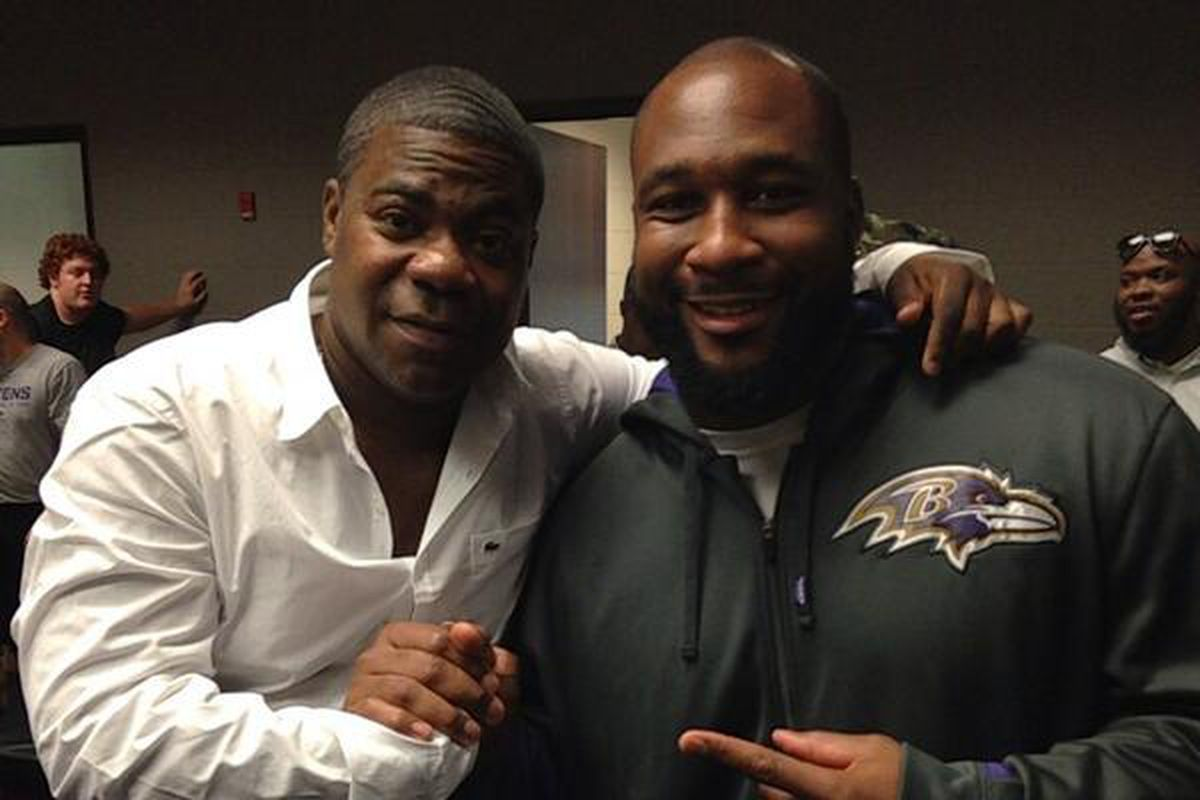 Marcus Spears posted a photo of himself and Tracy Morgan on twitter after the comedian paid the Ravens a visit.