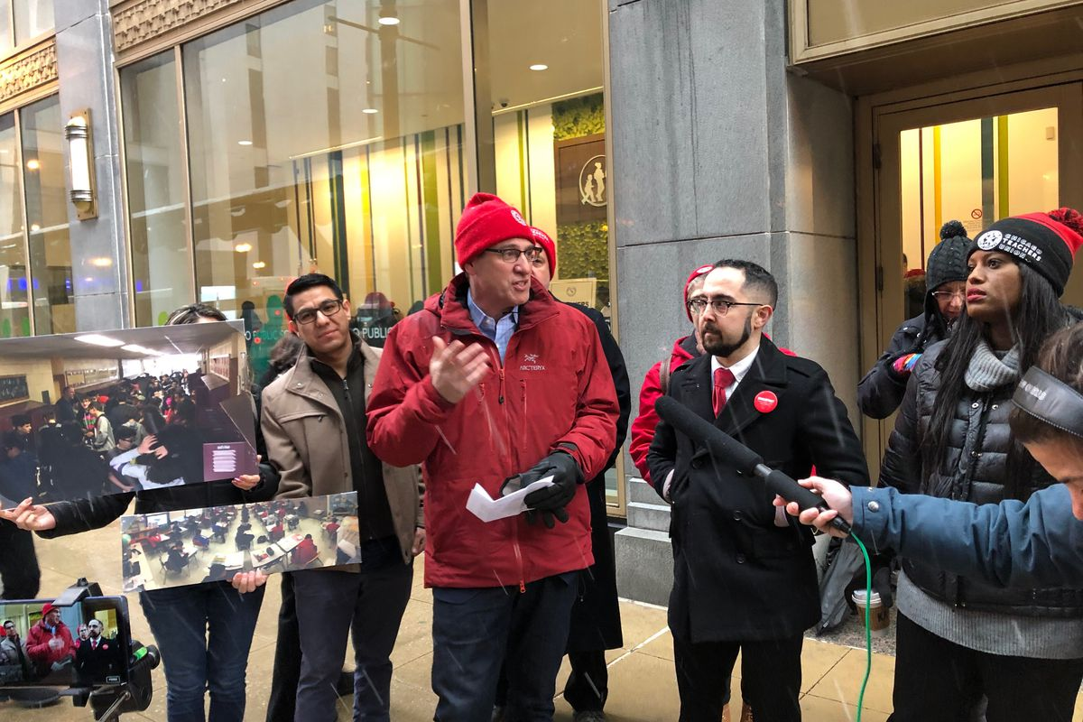 Jesse Sharkey, president of the Chicago Teachers Union, speaks outside the Chicago board of education meeting on  Jan. 23, 2019.