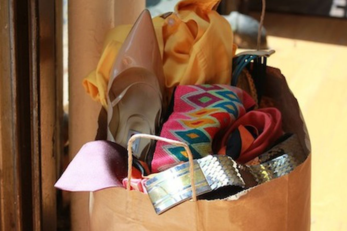 """An example of a Buy the Bag-filled bag via <a href=""""http://www.housingworks.org/news-press/detail/buy-the-bag-is-back-housing-works-warehouse-sales-start-july-23rd"""">Housing Works</a>"""
