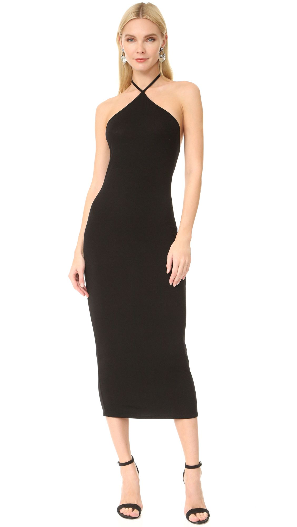 A black fitted dress