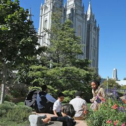 Crowds enjoy the nice weather during the afternoon session of the 183rd Semiannual  General Conference of the Church of Jesus Christ of Latter-day Saints Sunday, Oct. 6, 2013, in Salt Lake City.