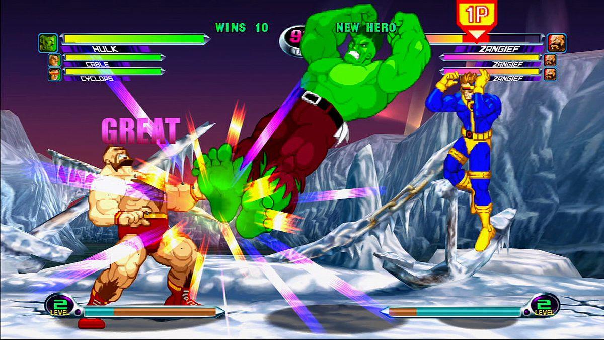 Hulk attacks in Marvel vs Capcom 2