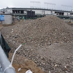 Piles of rubble along Clark Street, where the upcoming Addison and Clark residential/retail complex is being built