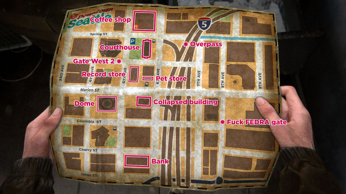 The Last of Us Part 2Downtown collectibles and buildings map