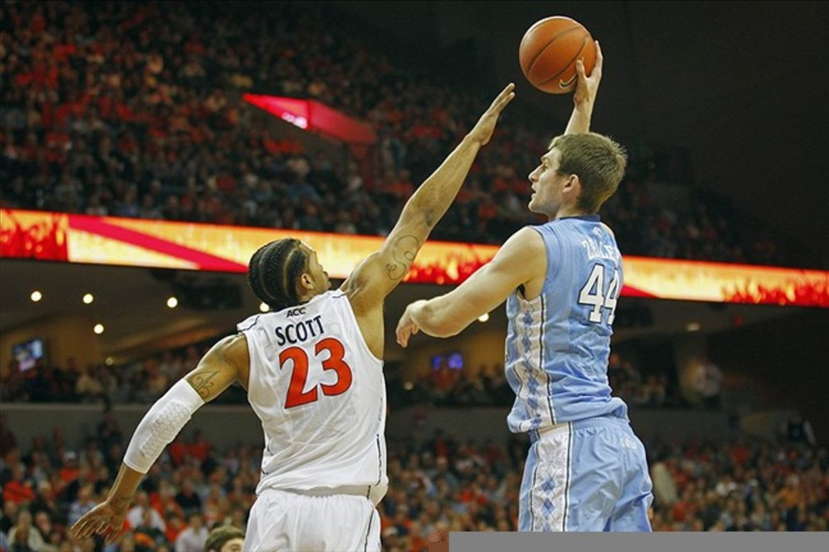 Tyler Zeller shoots the ball over Virginia Cavaliers forward Mike Scott in the first half at John Paul Jones Arena.