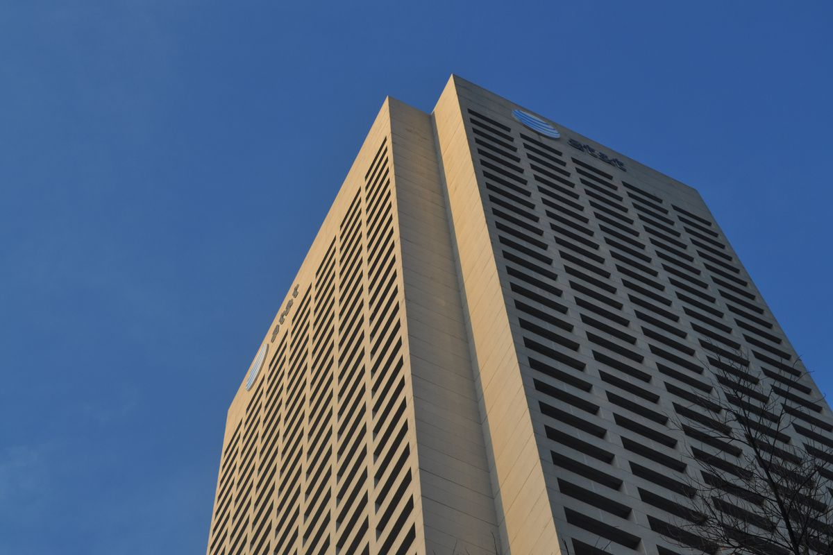 The top of a tall building, the AT&T tower in Atlanta.