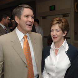 FILE - In this March 10, 2006, file photo, then-Senate Majority Leader Bill Frist, R-Tenn., makes his way through the crowd at the Southern Republican Leadership Conference in Memphis, Tenn. with his wife Karyn. A family spokeswoman confirmed on Monday, Sept. 10, 2012, that the Frists are divorcing after 31 years of marriage.