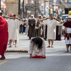 Jesus falls and is lashed. | Erin Brown/Sun-Times