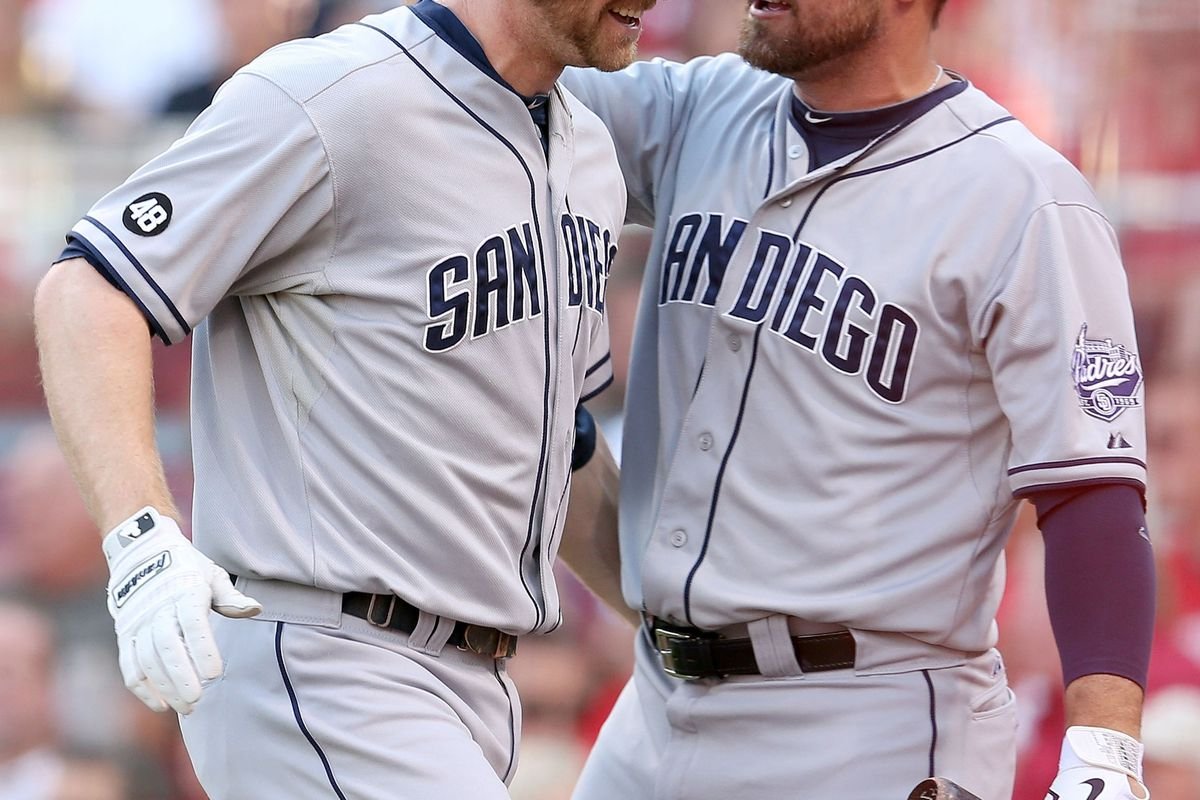 This picture illustrates how well Kotsay's beard has mentored Chase Headley's beard. (Photo by Andy Lyons/Getty Images)