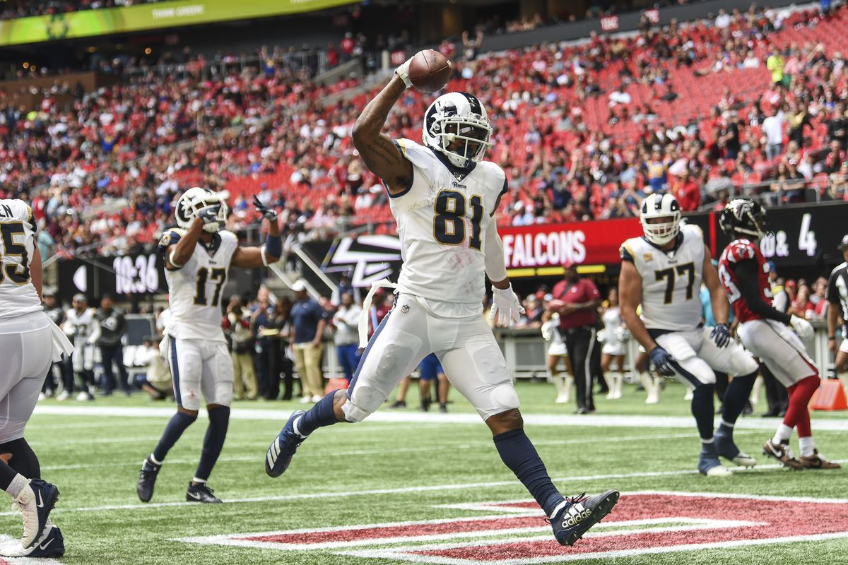 Los Angeles Rams tight end Gerald Everett reacts after scoring a touchdown against the Atlanta Falcons during the second half at Mercedes-Benz Stadium.