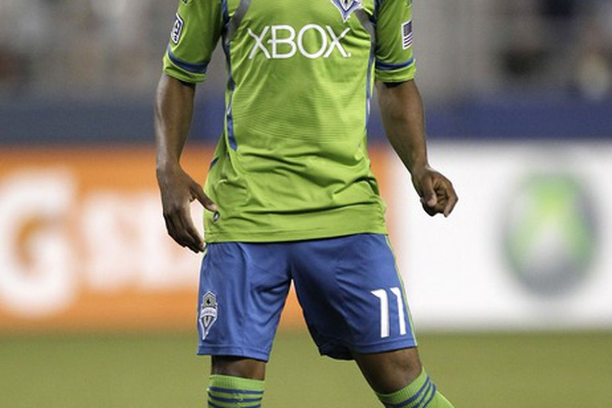 SEATTLE, WA - JULY 07:  Steve Zakuani #11 of the Seattle Sounders looks on against the Colorado Rapids at CenturyLink Field on July 7, 2012 in Seattle, Washington. The Sounders defeated the Rapids 2-1. (Photo by Otto Greule Jr/Getty Images)