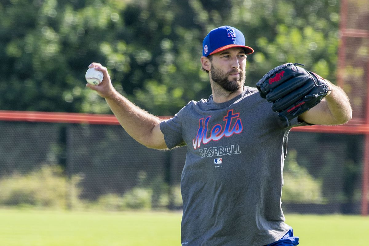 New York Mets pitcher Michael Wacha Practices in Port St. Lucie, Florida