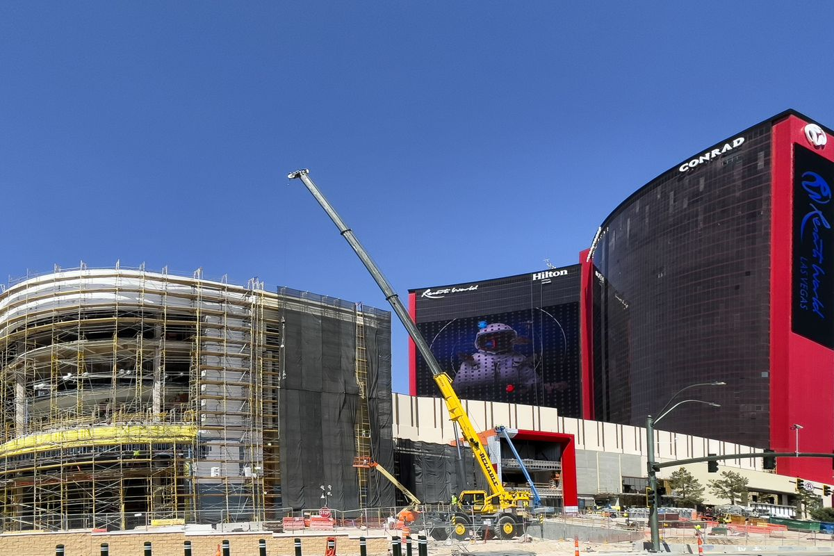 The exterior of a casino and resort under construction