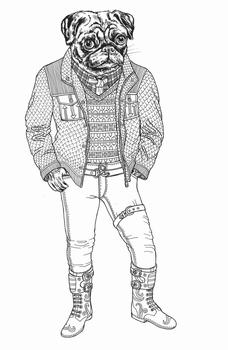 A black and white drawing from I Want You of a pug standing on two feet and wearing a shirt, tie, sweater vest, and jacket with slim-fit jeans and knee-high boots with buckles.