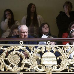 Former BYU football coach LaVell Edwards watches from the gallery at the start of the 2009 session of the Utah Legislature at the Capitol building in Salt Lake City, Monday.