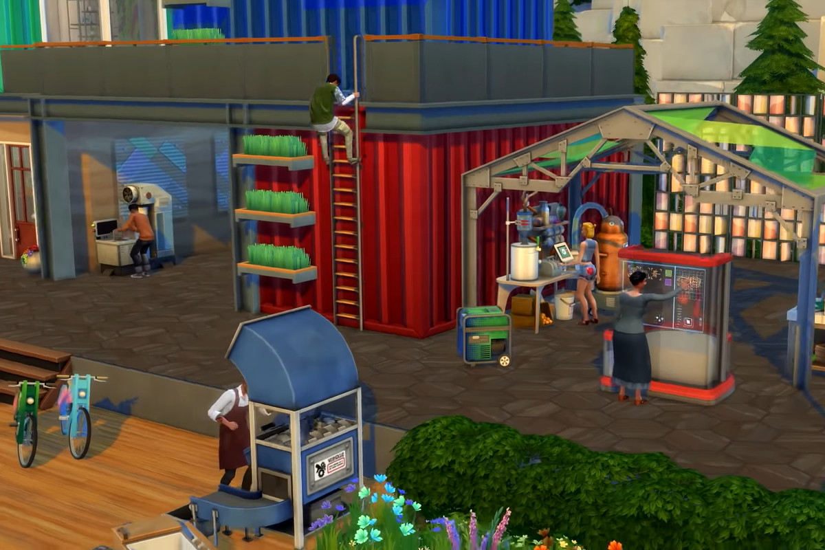 The Sims 4 Eco Lifestyle: a maker space with, most importantly, a ladder