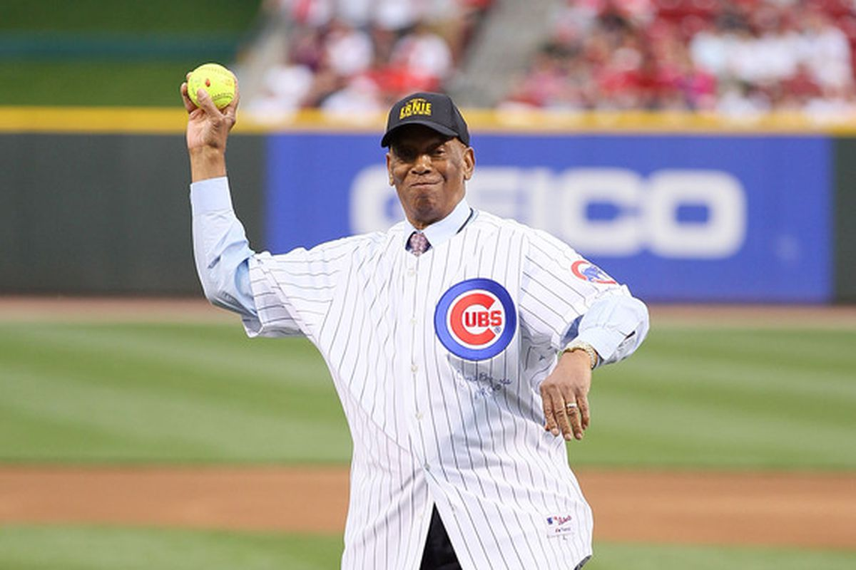 Hall of Fame shortstop and doubleheader advocate Ernie Banks throws out the first pitch before the 2010 Civil Rights Game between the Chicago Cubs and Cincinnati Reds.