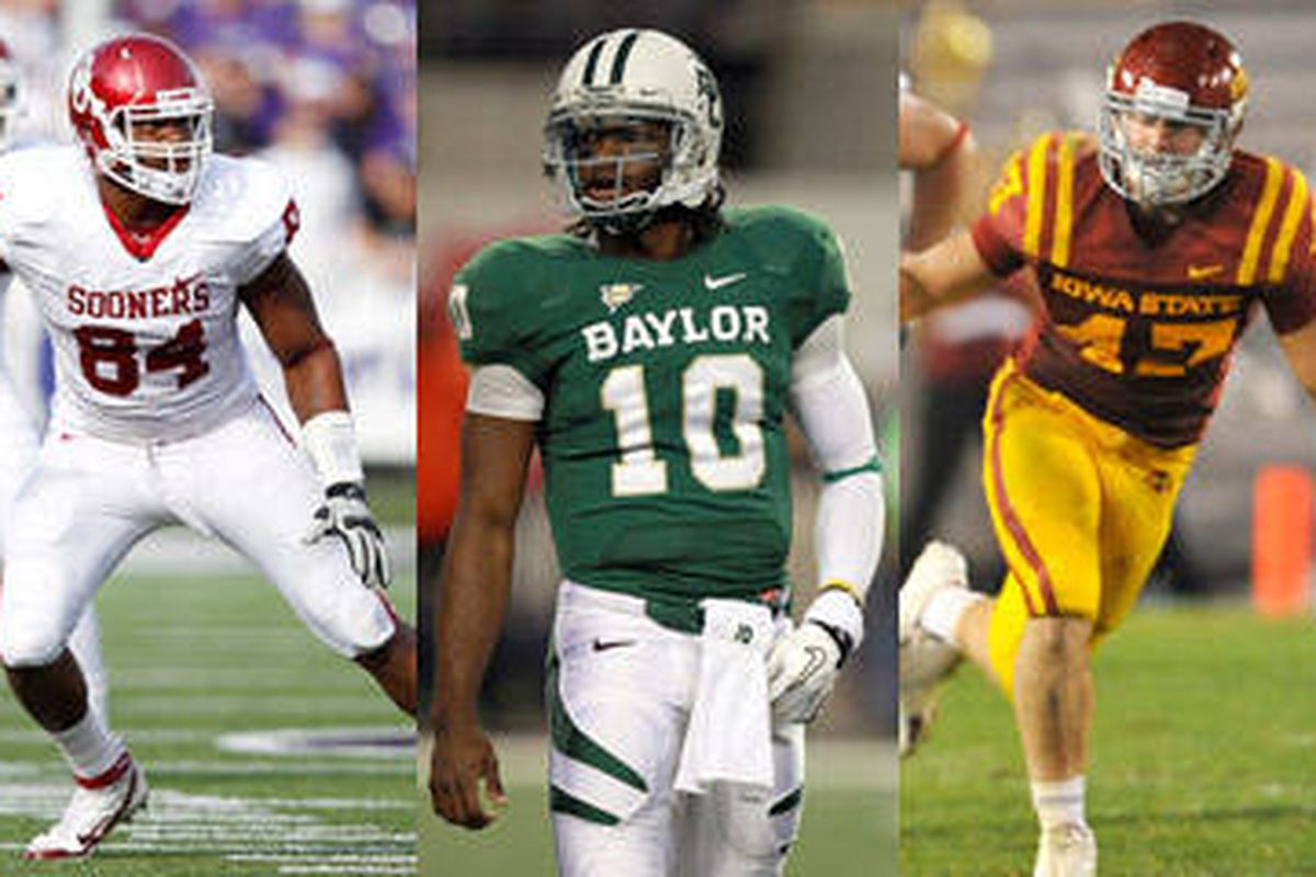 Frank Alexander of Oklahoma (far left), Robert Griffin of Baylor (middle) and Iowa State's A.J. Klein