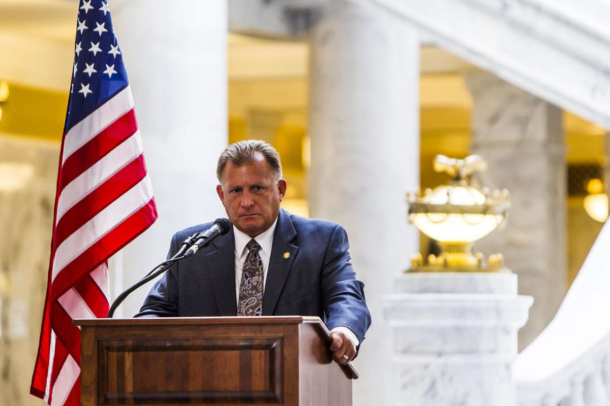FILE - State Senator Curt Bramble shares his support during a rally to encourage the defunding of Planned Parenthood at the Utah State Capitol in Salt Lake City on Wednesday, Aug. 19, 2015. Bramble is working on legislation that would require doctors to a