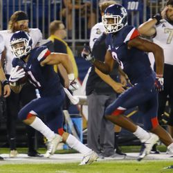 The UCF Knights take on the UConn Huskies in a college football game at Rentschler Field in East Hartford, CT on August 30, 2018.