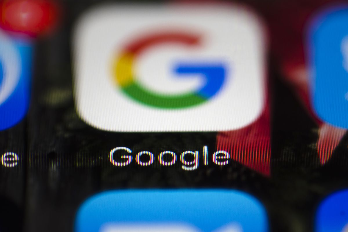 FILE - This Wednesday, April 26, 2017 file photo shows a Google icon on a mobile phone, in Philadelphia. European Union antitrust chief Margrethe Vestager is planning a statement on Wednesday, July 18, 2018 amid reports that her office will slap a record