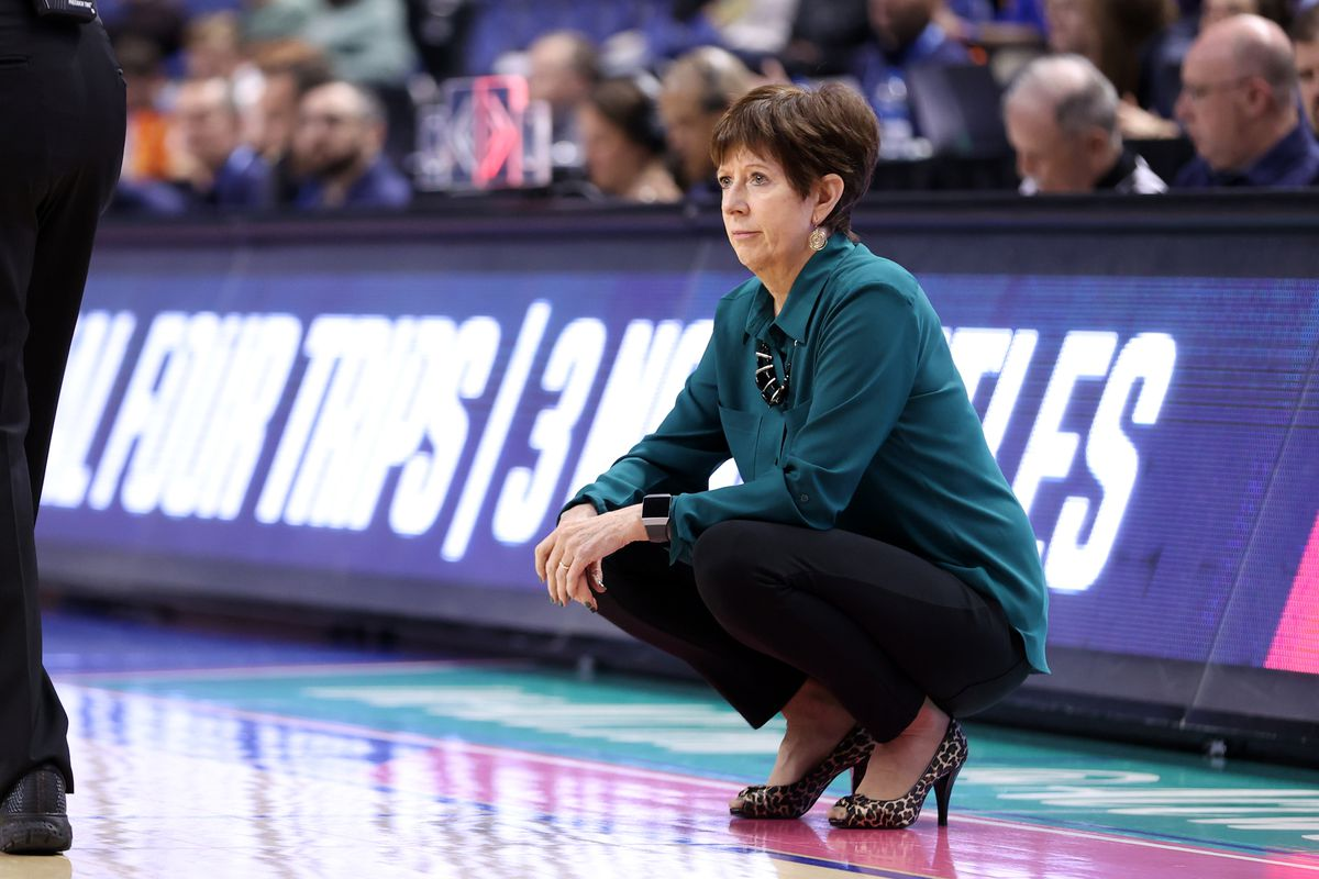 Head coach Muffet McGraw of Notre Dame University during a game between Pitt and Notre Dame at Greensboro Coliseum on March 04, 2020 in Greensboro, North Carolina.