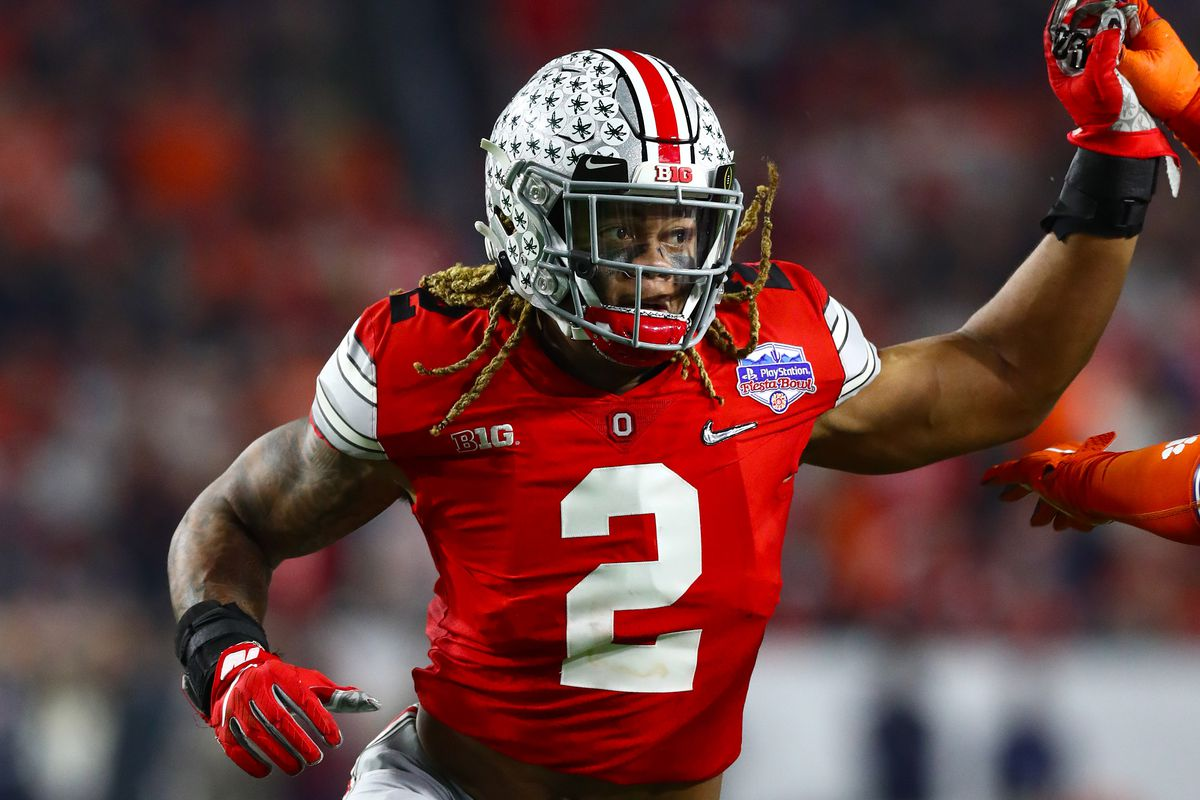 Ohio State Buckeyes defensive end Chase Young in action against the Clemson Tigers in the 2019 Fiesta Bowl college football playoff semifinal game.