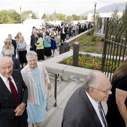 Hundreds line up to enter the temple prior to the second dedicatory session at the Brigham City Temple Sunday, Sept. 23, 2012.